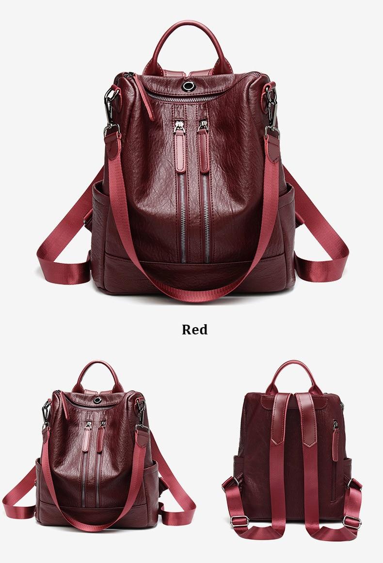 HTB1R2BUbzDuK1Rjy1zjq6zraFXaR Female backpack mochila feminina casual Multifunction Women Leather Backpack Female Shoulder Bag Sac A Dos Travel Back Pack