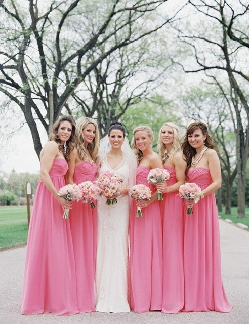 Hot Pink Bridesmaid Gown Navy Blue Peach Ivory Champagne Silver Yellow