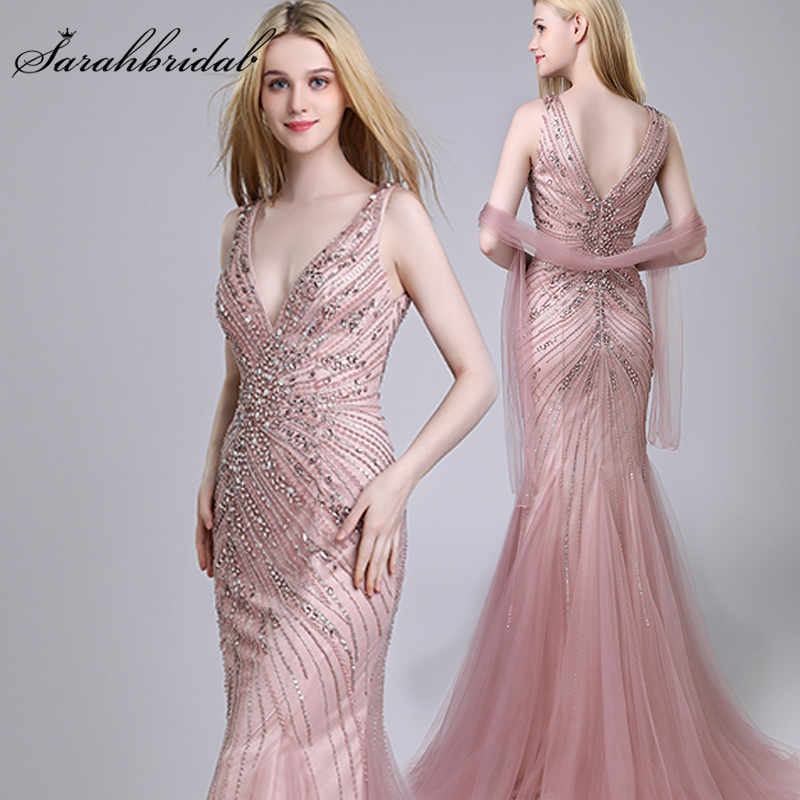 Fast Delivery Shining   Evening     Dresses   2019 Luxury Beading Crystal Tulle Long Mermaid Prom   Dress   Vintage V-Neck Party Gowns OL424
