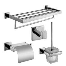 TT44 современные Серебристые аксессуары для ванной комнаты, полированный хром, квадратная основа, аксессуары для ванной комнаты, твердая латунь, Товары для ванной