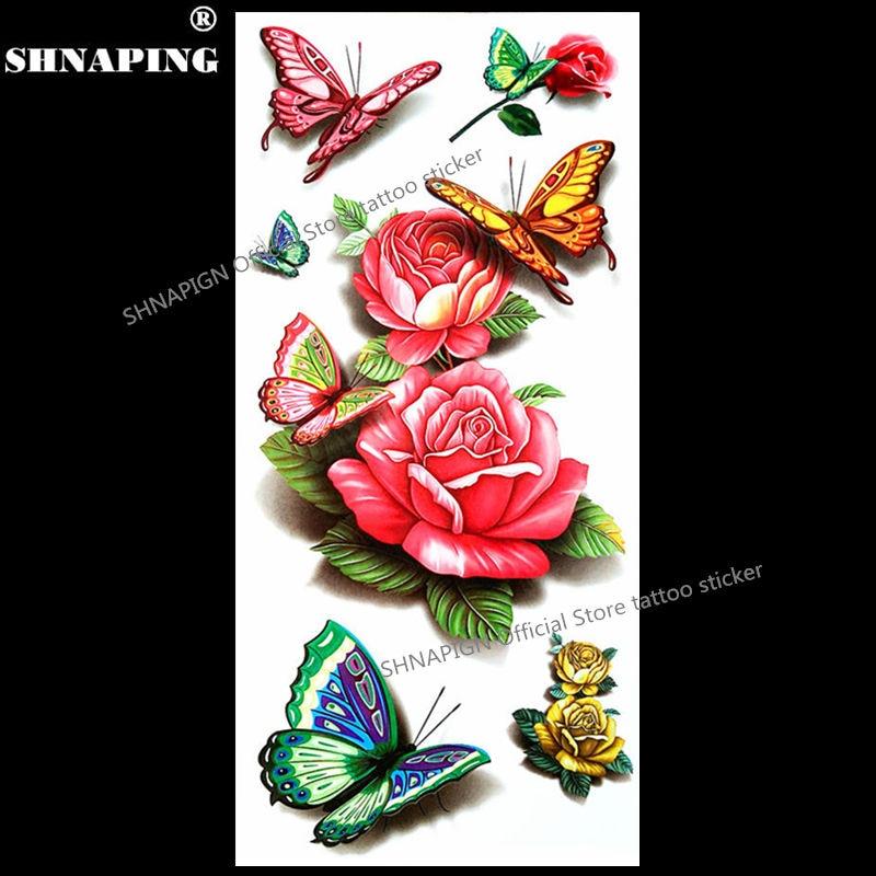SHNAPIGN 3D Ժամանակավոր դաջվածքներ Մարմնի արվեստ Flash Tattoo Կպչուն պիտակներ 19 * 9 սմ անջրանցիկ ստիլինգ Հեննա թաթու տնային դեկոր Կպչուն պոետիկ վարդ