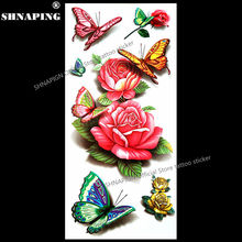 SHNAPIGN 3d Temporary Tattoo Body Art Flash Tattoo Stickers 19*9cm Waterproof Styling Henna Tatoo Home Decor Sticker Poetic Rose