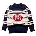 Chico caliente Suéteres Ropa Infantil de Algodón de Impresión Niño Top de Rayas Trajes de Ganchillo Invierno de Los Niños Ropa de 2016 Niños Chicos Ropa