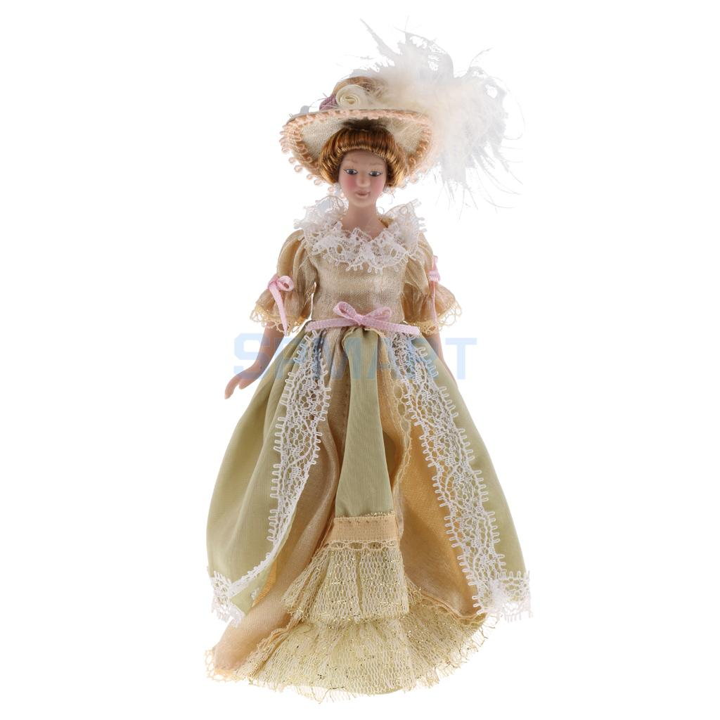 1:12 Scale Dollhouse Miniature Porcelain Doll Victorian Lady in Light Green Dress Children Kids Toy