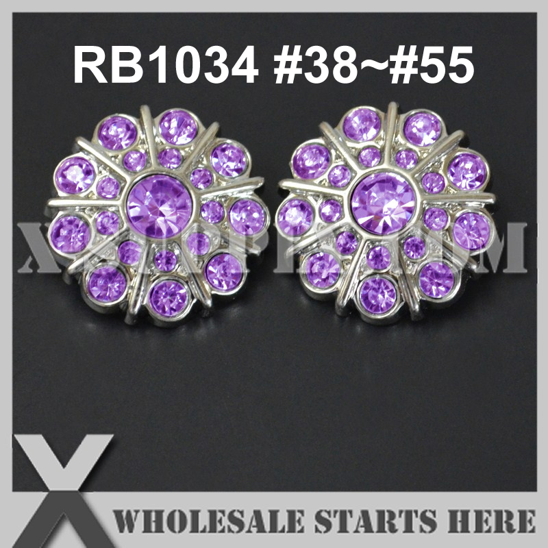(Color: RB1034 #38~#55) Flower Plastic Rhinestone Button with Shank Back