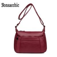 Bonsacchic PU Women's Leather Bag Small Luxury Designer Black Red Cross body Shoulder Bags for Women Messenger Bag with Pocket