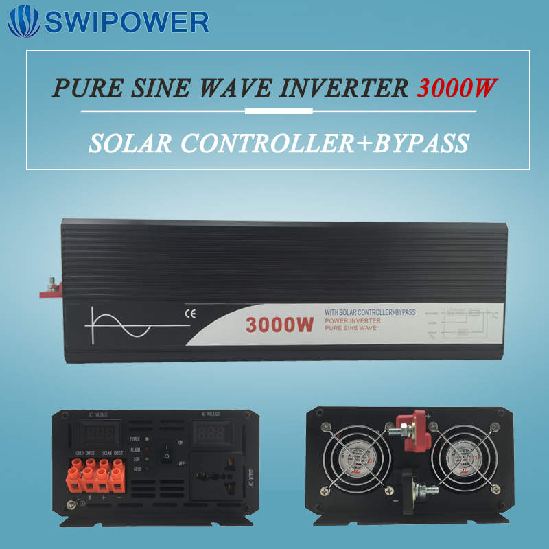 цена на pure sine wave solar power inverter 3000w 12V/24V DC to AC 120V/220V with solar controller with bypass