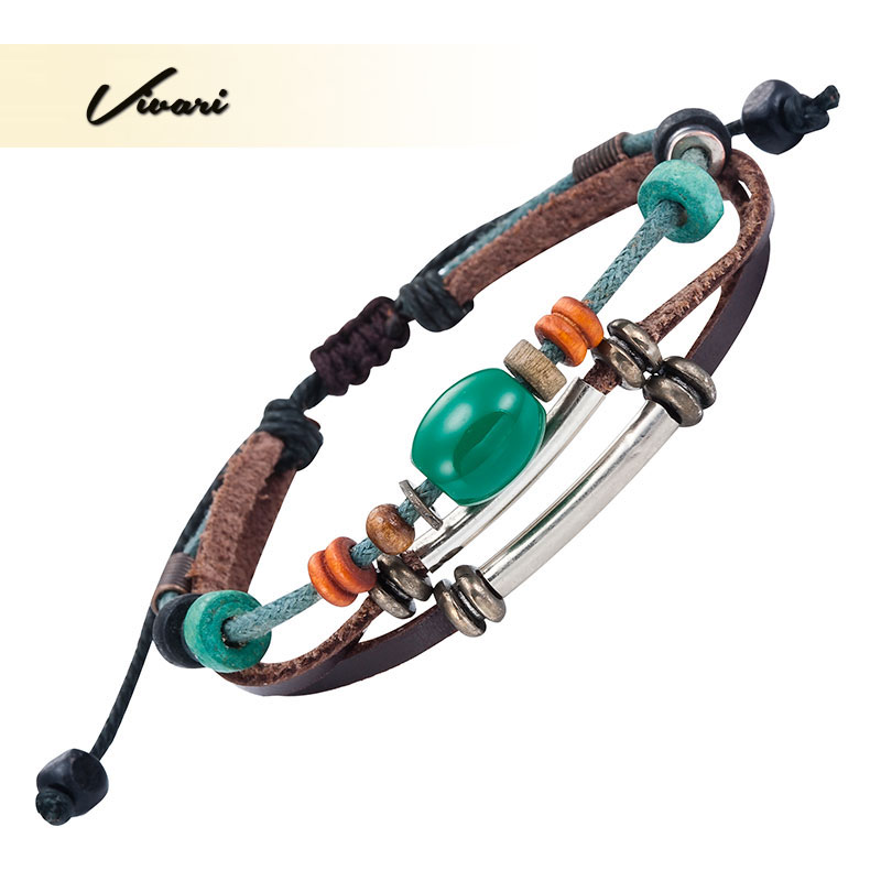 Vivari 2017 Trendy Women Leather Bracelet with Green Ball Men fashion Bangle Stylish Zinc Alloy Accessories Air Mail