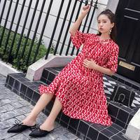 Maternity wear new chiffon dress pregnant mother in the long paragraph floral skirt pregnancy skirt