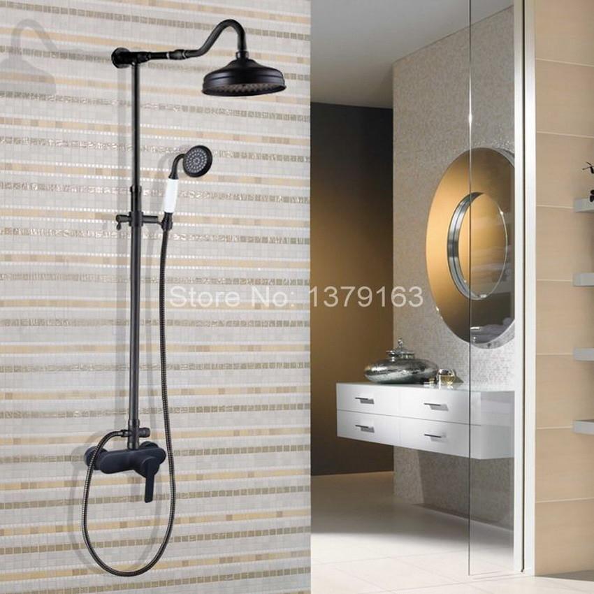 Black Oil Rubbed Brass Single Lever Wall Mount Bathroom Rainfall Shower Faucet Set Mixer tap Rain Shower Head Hand Shower ahg655