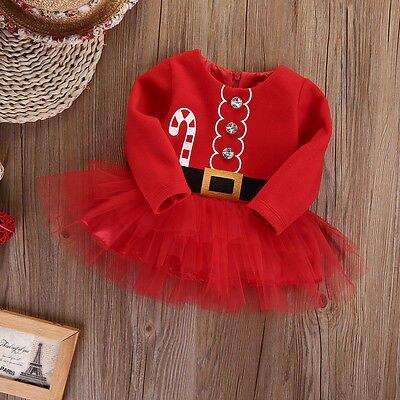 Kids Baby Girl Fleece Tops Tulle Tutu Dress Party Christmas Baby girls christmas costumes 0-2T