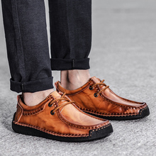 DXKZMCM Comfortable Men Casual Shoes Loafers Men Shoes High Quality Genuine Leather Shoes For Men Flats