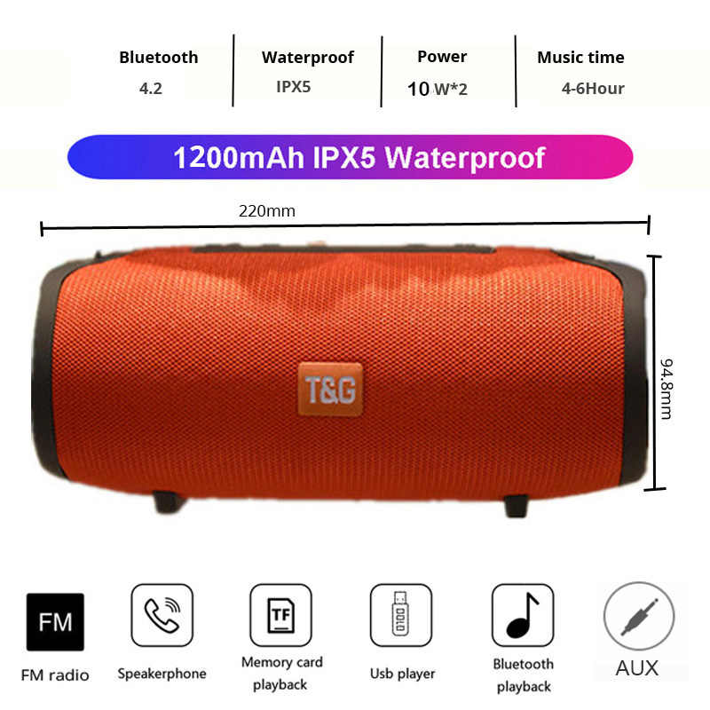 20W Speaker Portabel Bluetooth Nirkabel Bass Tahan Air Sub Woofer TG125 Stereo FM Radio TF AUX Portable Outdoor Subwoofer Berbicara