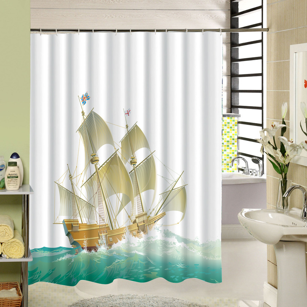 Ocean shower curtains - Ocean Shower Curtain White And Blue Fabric 3d Printing Landscape Pattern With Boat Briage China