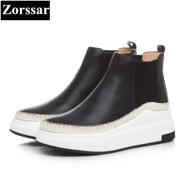 {Zorssar} 2017 NEW High Quality cow leather Womens boots Casual flat ankle Boots fashion women boots platform shoes woman the new high quality imported green cowboy training cow matador thrilling backdrop of competitive entrance papeles