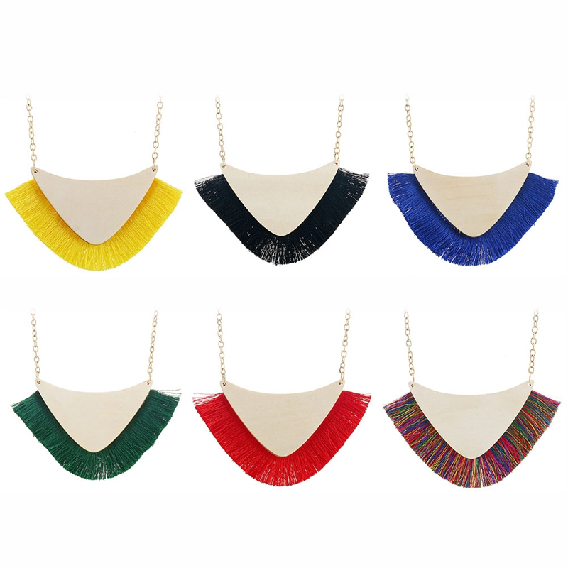 Luxury Bohemian Fan Wood Choker Necklace Collar Colorful Fabric Tassels Statement Necklaces for Women Valentine's Day Jewelry