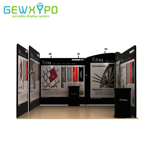 Portable Exhibition Booths : 15ft*15ft exhibition booth solution tension fabric banner