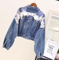 2018 New Fashion Spring Autumn Women's Tassel Pendant Bat Sleeve Short Denim Jacket Flower Embroidered Loose Jeans Coat Outwear