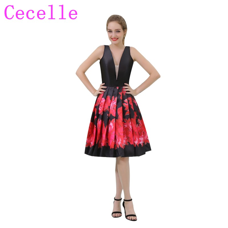 Black and Red Two Toned Floral Print Short   Cocktail     Dress   A-line Knee Length V Neck Sleeveless Informal Juniors Party   Dress