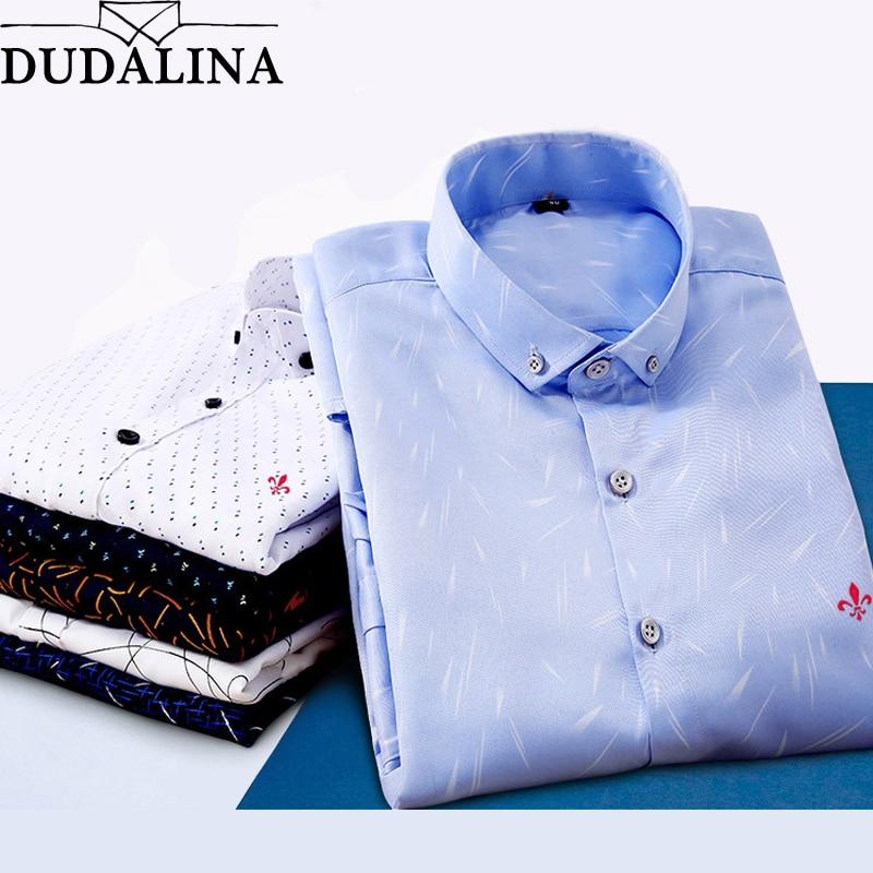 439dd013fbc67e3 Dudalina мужской 2018 печать вышивка Классический Бизнес Мужские рубашки  длинный рукав отложной воротник плюс размер Dress платье рубашка