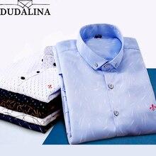 Dudalina Male 2018 Printing Embroidery Classic Business Men's Shirts Long Sleeve Turndown Collar Plus Size M-5xl Dress Shirt