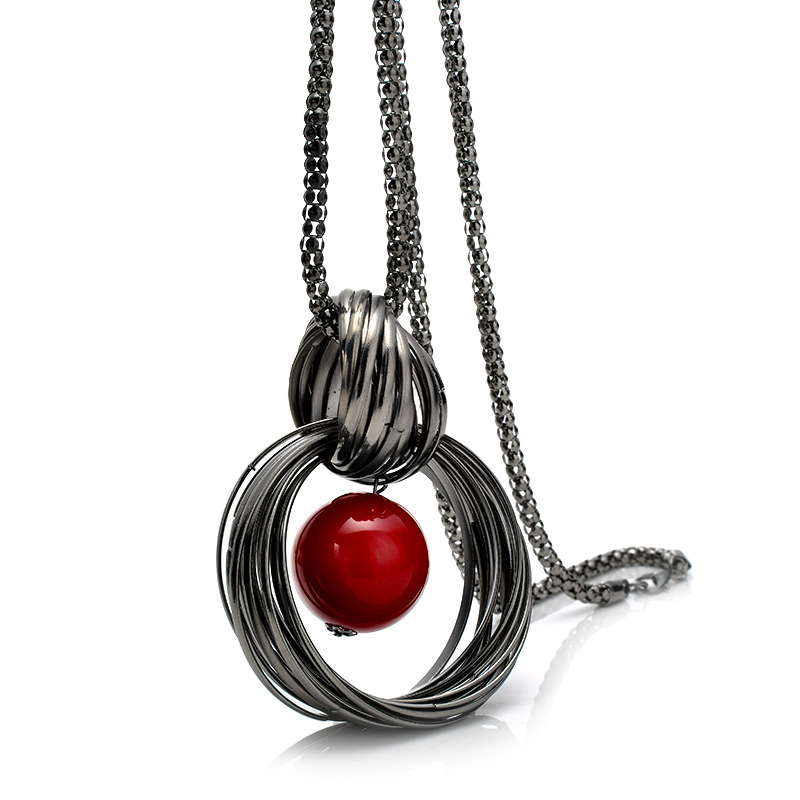 New Sweater Necklaces Circles Simulated Pearl Ball Pendant L