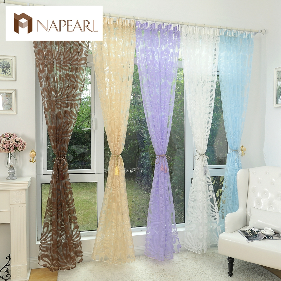 Us 4 29 43 Off Fl Design Blue Curtain Tulle Fabrics Sheer Curtains For Bedroom Window Panels Transpa Drape In