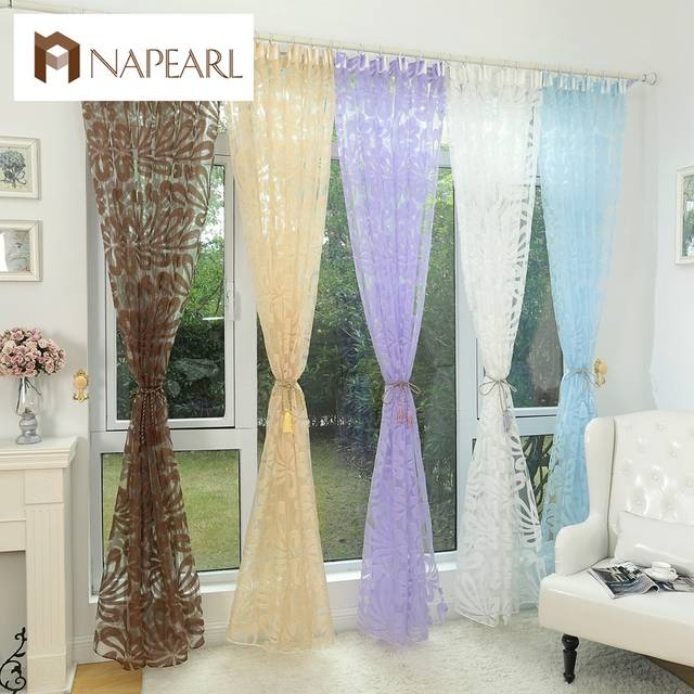 Floral Design Blue Curtain Tulle Fabrics Sheer Curtains For