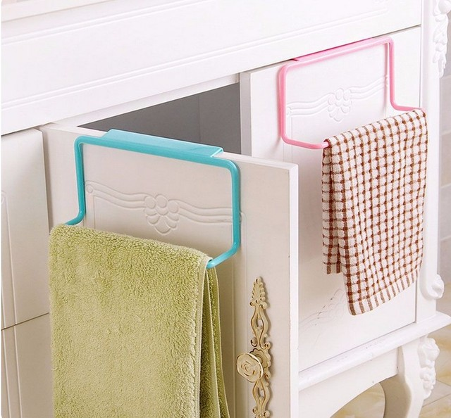 1pc Over Door Tea Towel Rack Bar Hanging Holder Rail Organizer Bathroom Kitchen Cabinet Cupboard Hanger