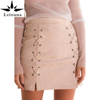 Leiouna 2017 New A Line High Waist Suede Leather Short Stretch Pencil Elastic Skirt Women Solid