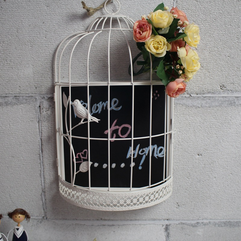 Home Decor Wall Display Racks Hanging Birdcage Storage Shelve DIY Birdcage Blackboard Figurines Crafts Display Racks Wall Vases