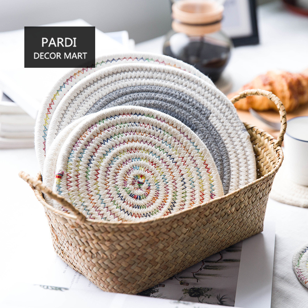 Thickness cotton place mat Hand woven mat home tableware heat resistant pot pad 1pc/lot