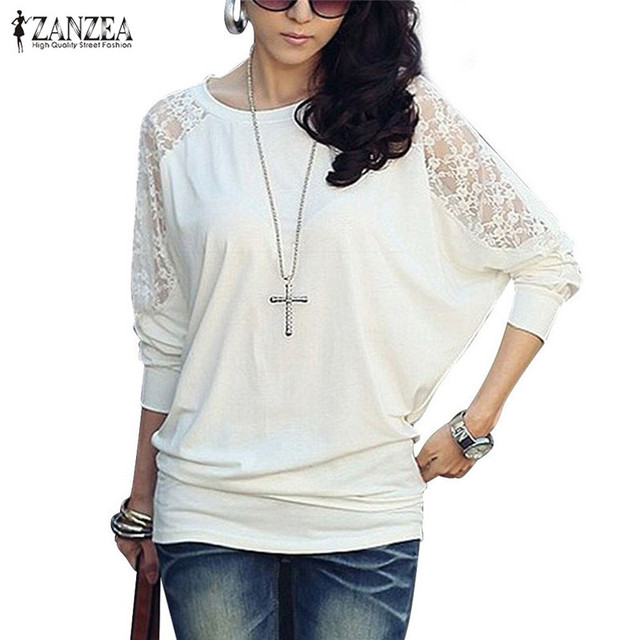 fc9ae5d436f ZANZEA Sexy Blusas 2018 Autumn Winter Women Lace Crochet Blouse Batwing Long  Sleeve Shirt Sexy Loose