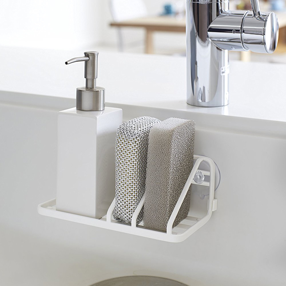 Permalink to Houmaid Kitchen Sink Accessories Storage Organization Draining Shelf Sundries Metal Rack Wall Mounted Sponge White Holders