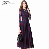 Qiqi Maxi Dresses Women New Europe Elegant Hollow Out Stitching Lace Vestidos Femme Work Casual Slim