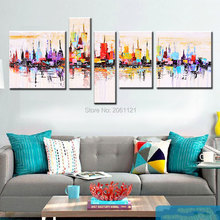 Handpainted cheap modern modular painting 5 panel abstract canvas newyork city wall for living room decoration