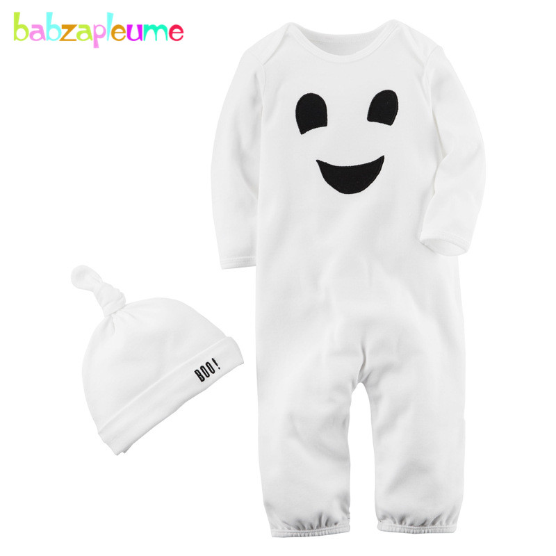2PCS/Baby Halloween Costume Newborn Clothes Long Sleeve 100% Cotton Rompers Boys Girls Jumpsuit+Hats Infant Clothing Sets BC1073