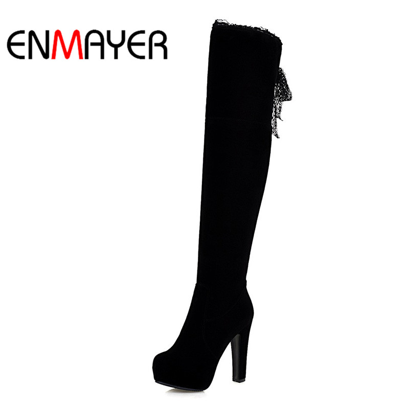ENMAYER Womans Platform Shoes High Heel Winter Boots Over the Knee Autumn Boots Black Blue Fashion Warm Shoes for Ladies Boots enmayer over the knee boots shoes new pu knitting square heel high boots warm snow long boots red brown black knight boots