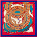 100 см * 100 см Женщин 2016 Новая Мода Twill Шелковый Металлическая Цепь Большой Круг Печатной Площади Шарф Горячие Продажи большой Платок