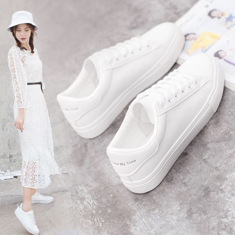 Hot Fashion Spring New Designer Breathble Vulcanized Shoes Woman Pu Leather Tenis Feminino Lace-up Casual White Sneakers