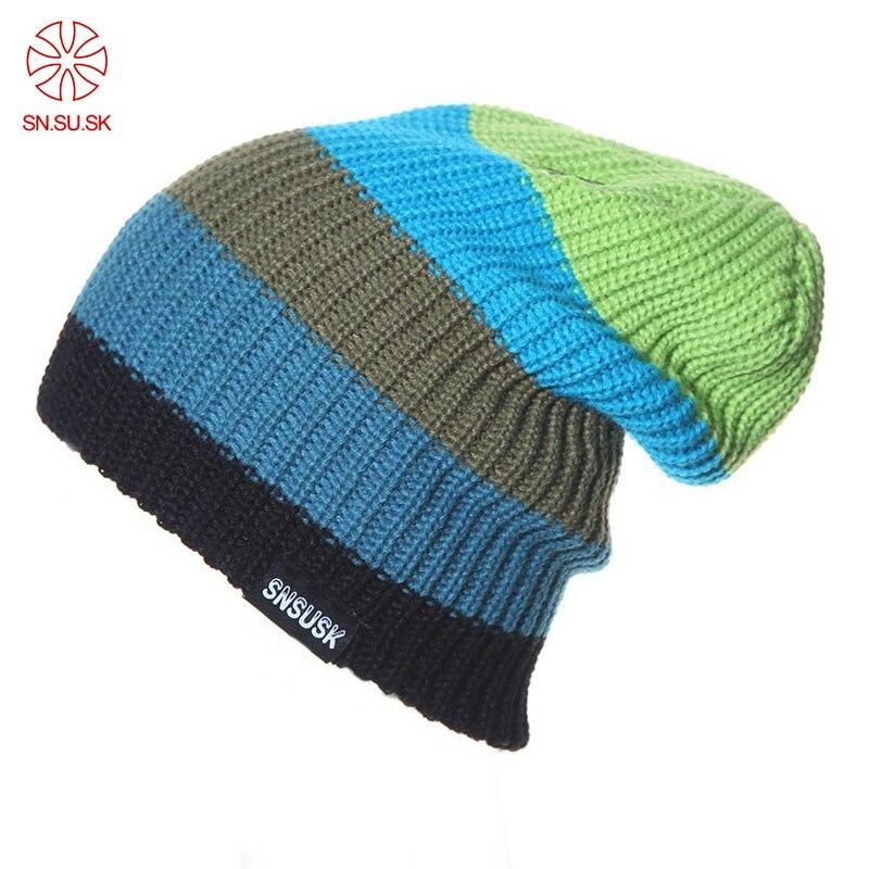 SNSUSK Famous Brand Men Women Skiing Warm Winter Knitting Skating Skull Cap Ski Hat Beanies Turtleneck Cap Snowboard