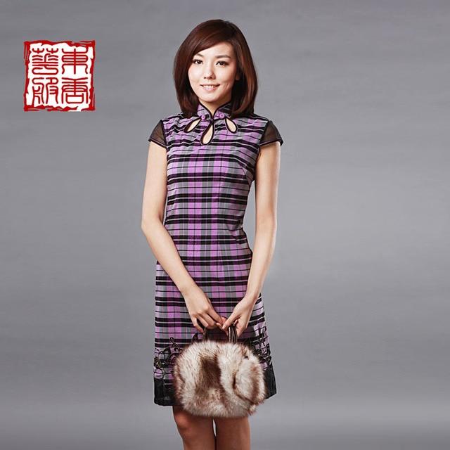 Cheongsam summer elegant drop slanting lapel embroidered gentlewomen purple plaid cheongsam dress mdash .