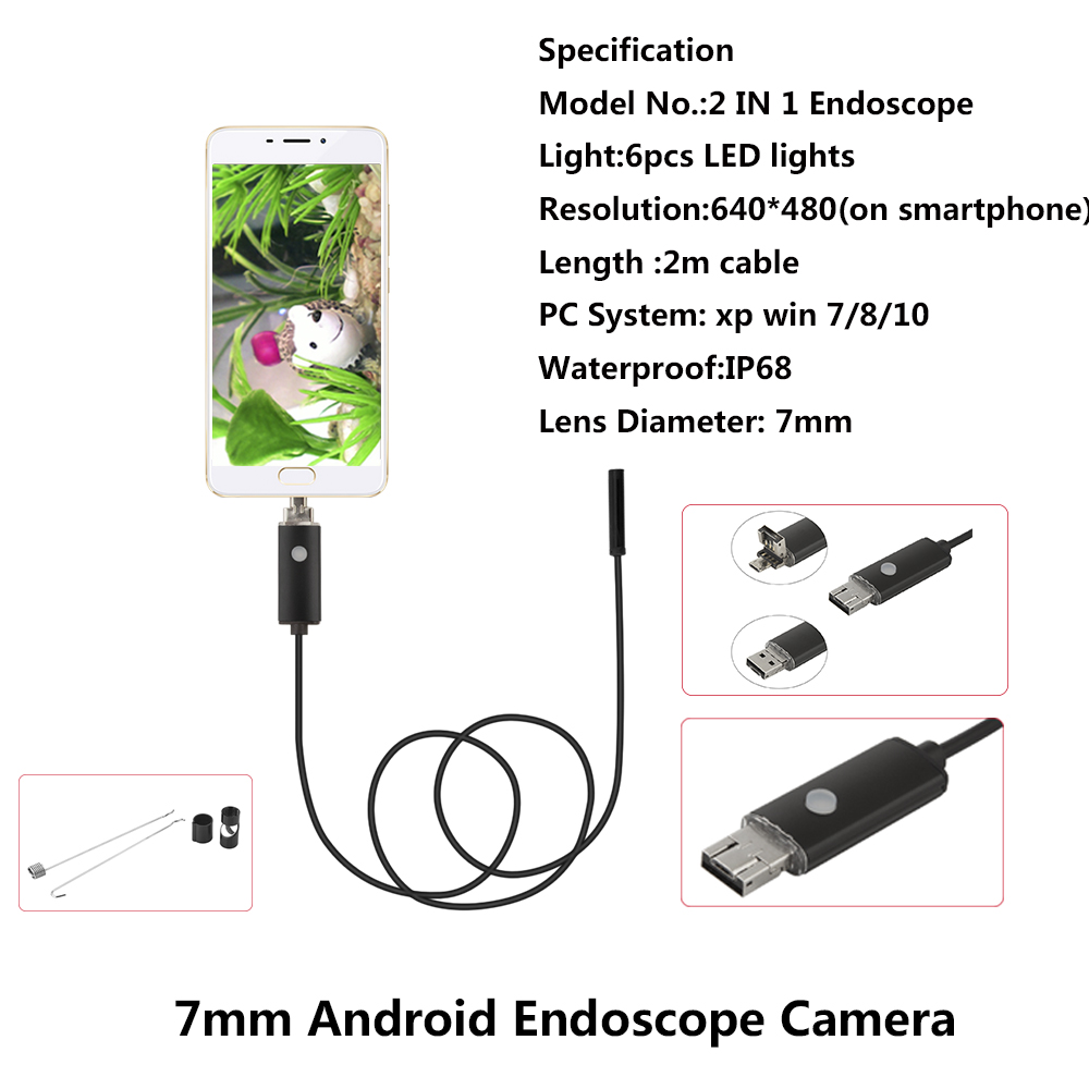 Mini 2in1 USB Android 7mm HD 640*480 Dia 2m Length Endoscope HD Inspection Snake Camera Waterproof Snake Pipe Borescope Cam black coffee leeds