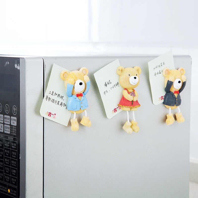 Мультяшный медведь дизайн магнит на холодильник магнитная доска сообщения держатель наклейка на холодильник подарки для детей Рождественский домашний декор