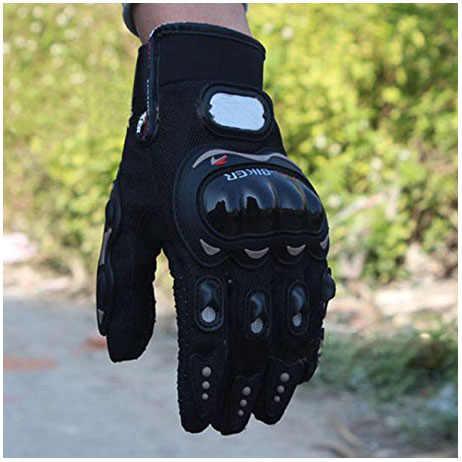 プロバイカー 1 ペアロック黒ショートスポーツレザーオートバイバイク夏手袋