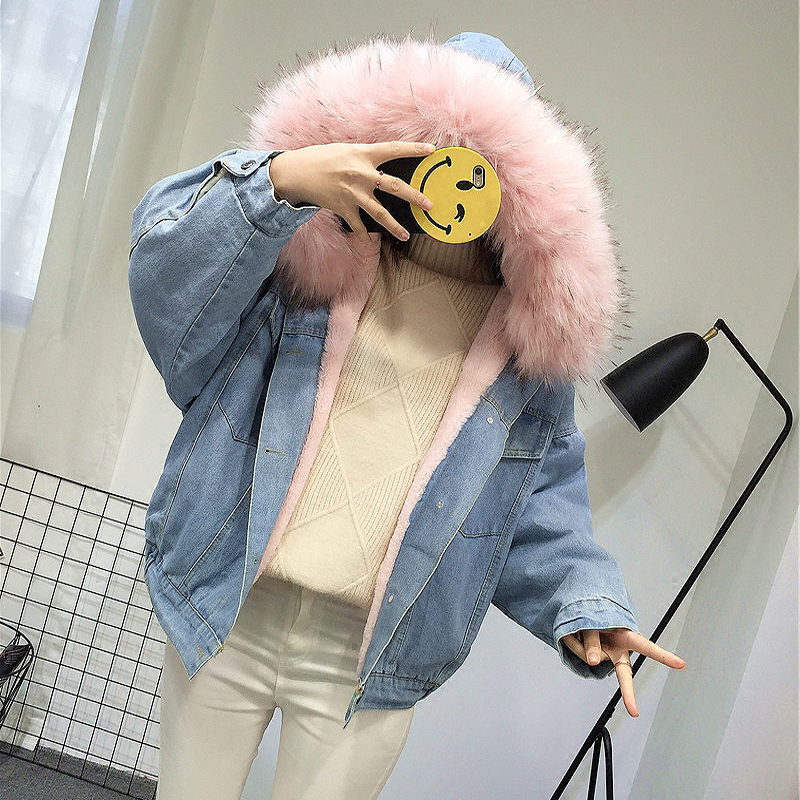 HTB1R2EYGKOSBuNjy0Fdq6zDnVXag Elexs velvet thick denim jacket female winter big fur collar Korean locomotive lamb coat female student short coat 72510