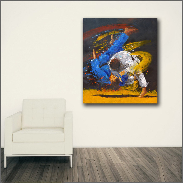 Large size Printing Oil Painting strength and skill JUDO Wall art ...