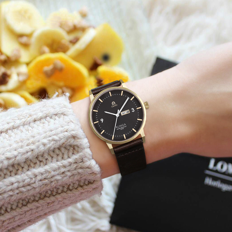 CAINO Luxury Brand Fashion Leather Woman Watch Waterproof Casual Ladies Clock Female Women's watch Simple Gift Relogio Feminino caino fashion luxury ladies watch rose gold women watches elegant rhinestone casual waterproof clock female relogio feminino