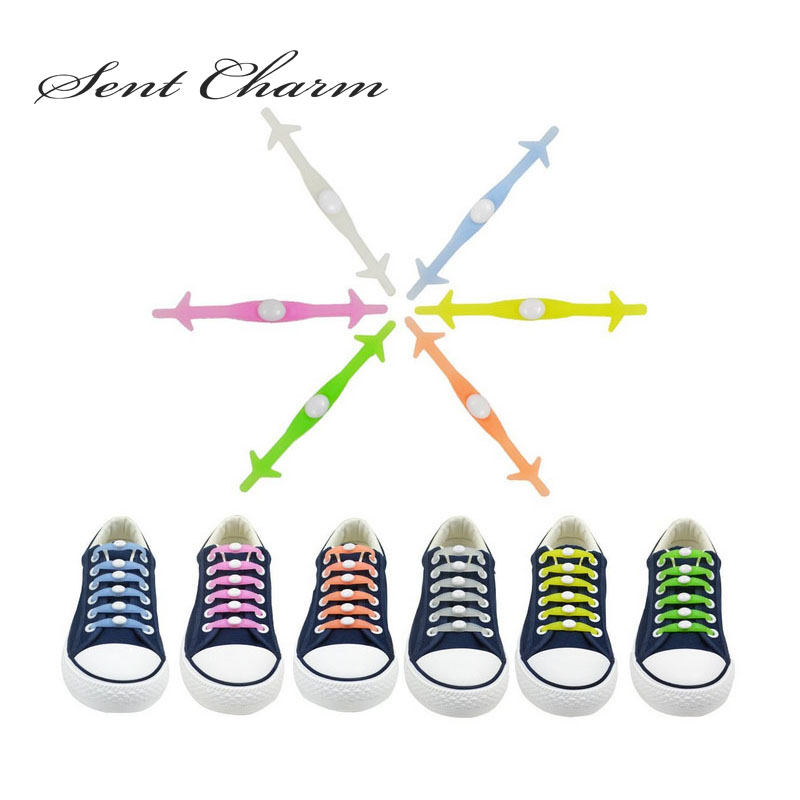 SENTCHARM 12Pcs/Pack No Tie Luminous Silicone Shoelaces For Men Women Present Wholesale Party Gift Glow in the Dark цена