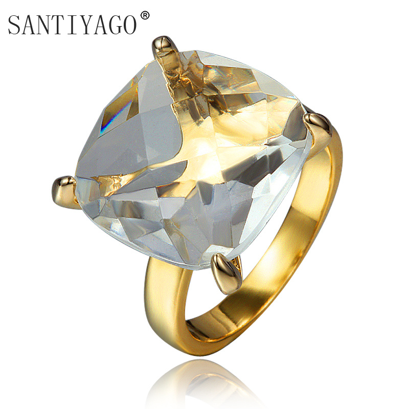 Hot Selling Heavy Silver Plated Stainless Steel Ring With Big Precious Stone Crystal Rings For Women Size 6,7,8,9